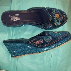 Boho blue velvet wedges